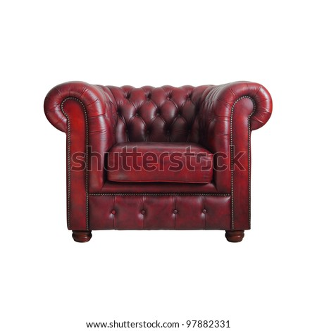 Classic Red Leather Armchair Isolated On White Background With Clipping  Path.