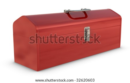 Classic red, metal toolbox on white with clipping path