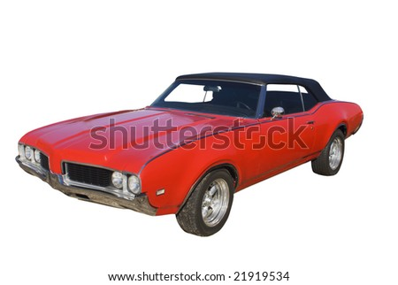 classic red muscle car with black top isolated on white - stock photo