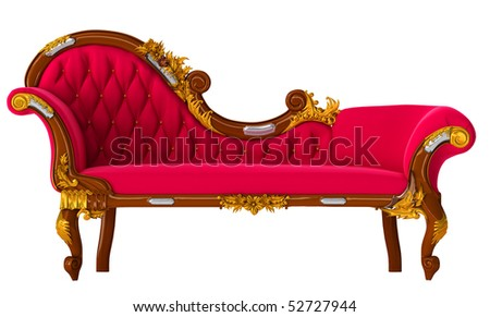 classic red sofa  with figured carving. Isolated on white. High resolution illustration - stock photo