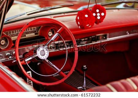 classic red vintage car