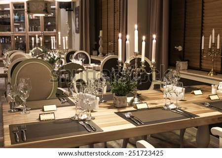 Classic restaurant interior with candles - stock photo