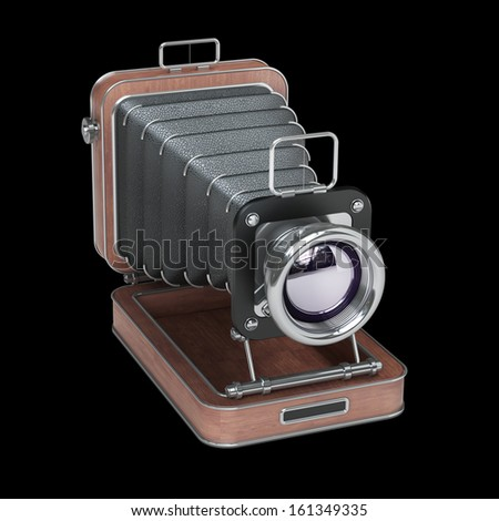 Classic Retro Camera. Wooden case. High resolution. 3D image