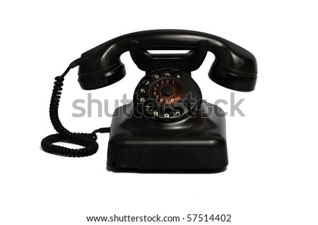 Classic 1970 - 1980 retro dial style black house telephone - stock photo