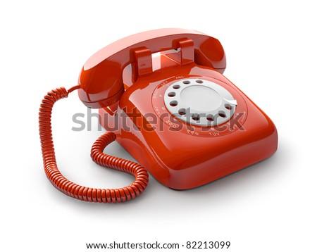 Classic retro dial style house telephone - stock photo