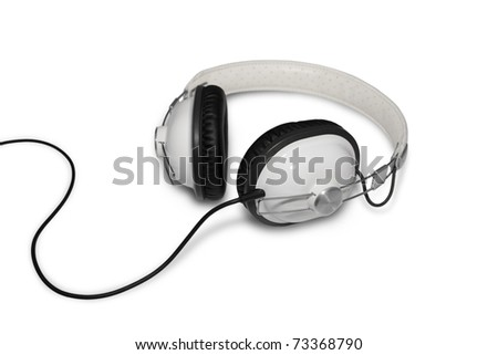 Classic Retro Head Set Phone Isolated on White - stock photo
