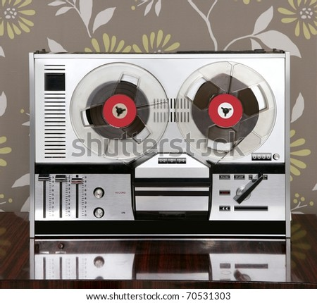 classic retro reel to reel open 60s vintage music recorder - stock photo