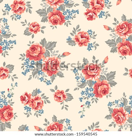 classic retro roses seamless background tile - stock photo