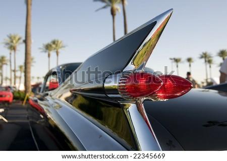 Classic retro 50's chrome car tail fin - stock photo