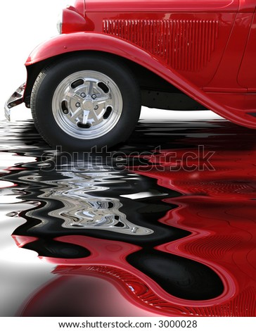Classic roadster on water or wet surface - stock photo