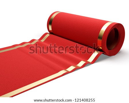 Classic rolling red carpet on white background. 3d render illustration