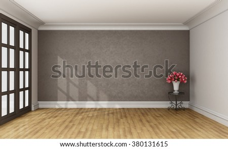 Classic room with stucco wall on background,coffee table and window - 3D Rendering - stock photo