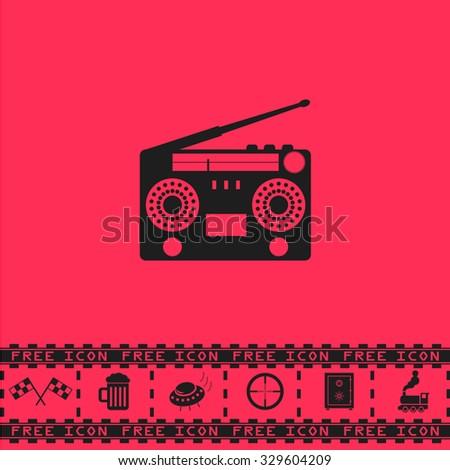 Classic 80s boombox. Black flat illustration pictogram and bonus icon - Racing flag, Beer mug, Ufo fly, Sniper sight, Safe, Train on pink background - stock photo