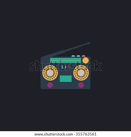 Classic 80s boombox. Color flat icon on black background - stock photo