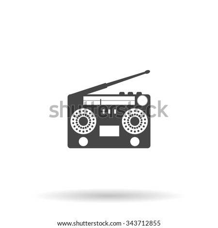 Classic 80s boombox. Flat icon on grey background with shadow - stock photo