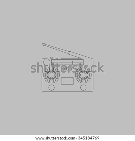 Classic 80s boombox. Flat outline icon on grey background - stock photo