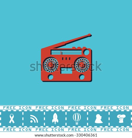 Classic 80s boombox. Red flat symbol with dark shadow and bonus icon. Simple illustration pictogram on blue background - stock photo