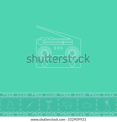Classic 80s boombox. White outline flat icon and bonus symbol. Simple illustration pictogram on green background - stock photo