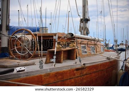 classic sailing yacht - stock photo