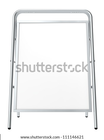 Classic Sandwich Board. Front view of a Sandwich Board, isolated on white. Blank for Copy Space. - stock photo