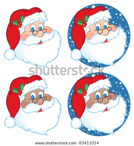 Classic Santa Claus Head.Raster Collection.Vector version is also available - stock photo