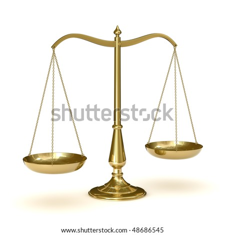 classic scales of justice, isolated on white background - stock photo