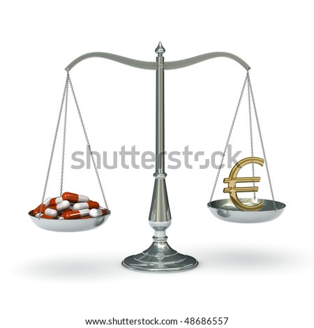 classic scales of justice with a bunch of pills and euro sign, isolated on white background