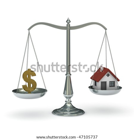 classic scales of justice with dollar symbol and house,  isolated on white background
