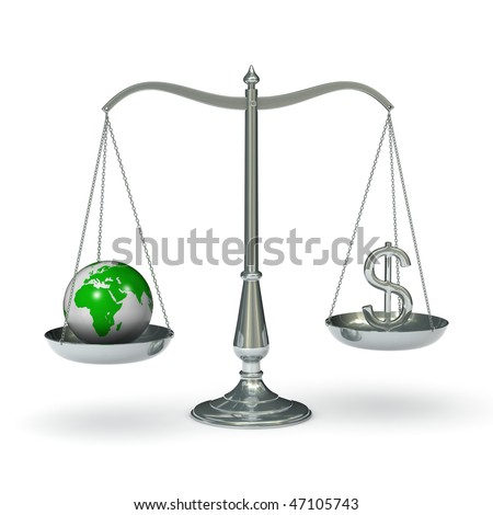 classic scales of justice with the earth and dollar sign, isolated on white background
