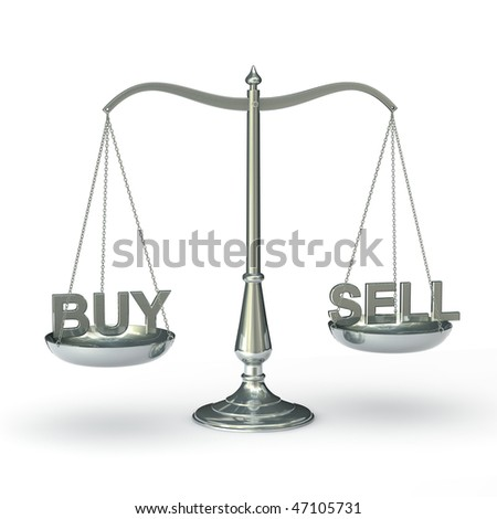 classic scales of justice  with the words BUY and SELL, isolated on white background