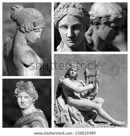 classic sculptures collage, Florence, Italy - stock photo