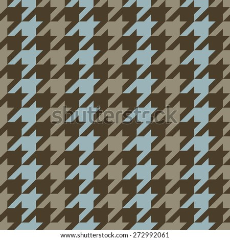 Classic seamless hounds tooth pattern with vertical stripes in blue and brown. - stock photo