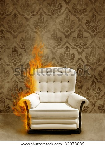 Classic seat in flame on ancient wall