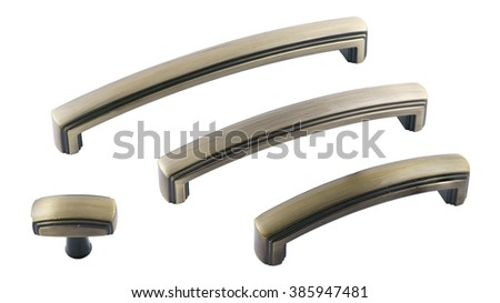 furniture handles. classic set of furniture handles in bronze on a white background