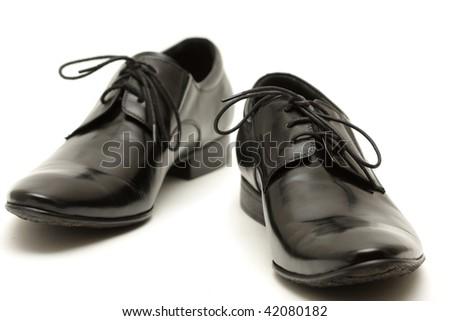 Classic shiny black men's shoes - stock photo