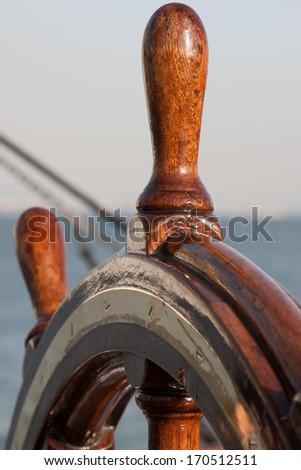 Classic ship wheel - stock photo