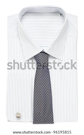 Classic shirt with spotted tie - stock photo