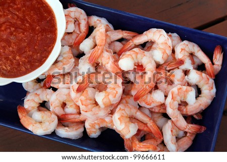 Classic shrimp cocktail - stock photo