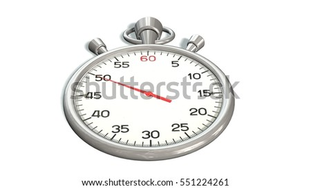 Classic silver stopwatch with red pointer on 50 second - isolated on white background - 3d rendering
