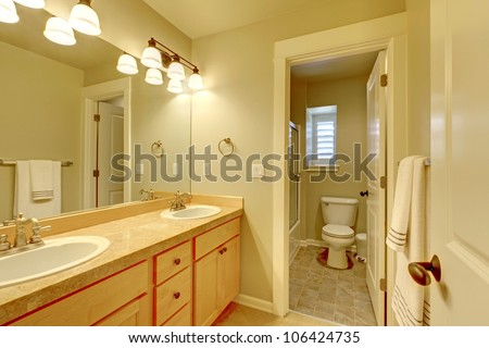 Classic simple two sink nice bathroom. - stock photo