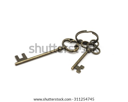Classic Skeleton Keys Isolated On White Background. - stock photo