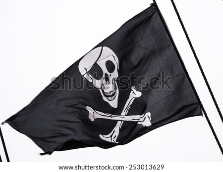 Classic skull and crossbones flag. - stock photo