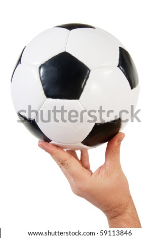 classic soccer ball in hand. Isolated on white - stock photo