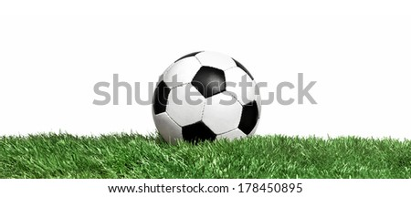 Classic soccer ball on a field grass - stock photo
