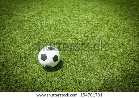 Classic soccer ball on green artificial grass.