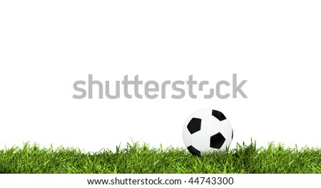 Classic soccer ball on green grass isolated on white - stock photo