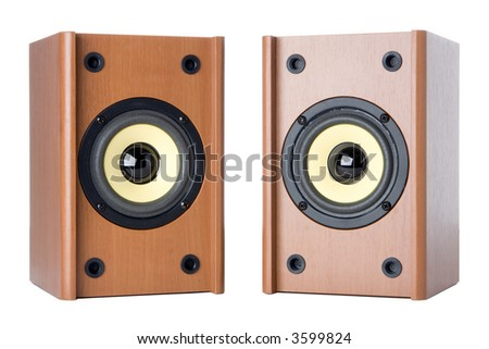 classic sound system ovwer white background - stock photo