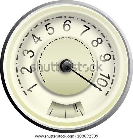 Classic speedometer in cream with a needle indicating maximum speed - stock photo