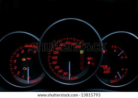 Classic sport speedometer and tachometer - stock photo
