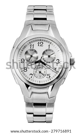 classic steel wristwatch for man, isolated - stock photo